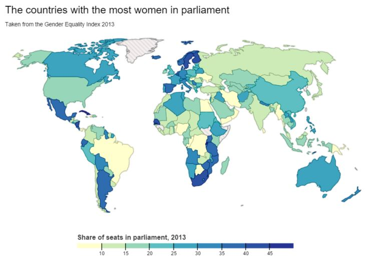 Countries with most women in Parliament